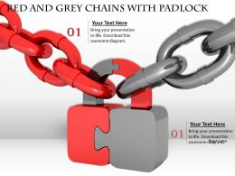 0514 Red And Grey Chains With Padlock Security Concept Image Graphics For Powerpoint