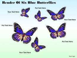 0514 render of six blue butterflies Image Graphics for PowerPoint