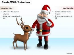 0514 Santa And Reindeer For Christmas Image Graphics For Powerpoint