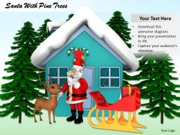 0514 Santa With Snow Hut And Trees Image Graphics For Powerpoint
