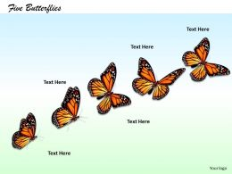 0514 series of five butterflies Image Graphics for PowerPoint
