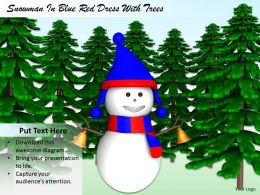 0514 Snowman And Christmas Trees Holiday Theme Image Graphics For Powerpoint