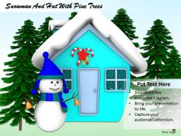 0514 Snowman Hut With Pine Trees Image Graphics For Powerpoint
