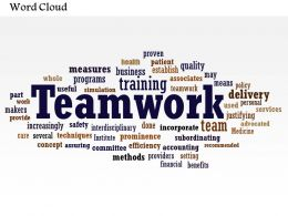 0514 Teamwork Word Cloud Powerpoint Slide Template