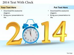 0514 Text For 2014 With Alarm Image Graphics For Powerpoint