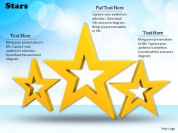0514 Three Golden Stars For Decoration Image Graphics For Powerpoint