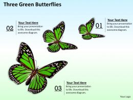 0514 three green butterflies Image Graphics for PowerPoint