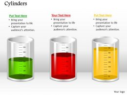 0514 Three Liquid Measuring Cylinders Medical Images For Powerpoint