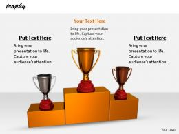 0514 Trophies On Winner Podium Image Graphics For Powerpoint