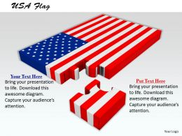 0514 us flag design with puzzle Image Graphics for PowerPoint