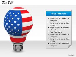 0514 USA Flag Idea Bulb Image Graphics for PowerPoint