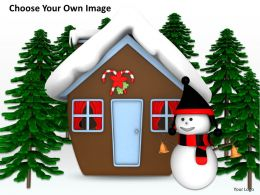 0514 Winter View Of Snowman And Hut Image Graphics For Powerpoint