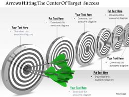 0614 Arrows Hitting The Center Of Target Image Graphics for PowerPoint