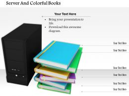 0614 Books With Computer Server Image Graphics For Powerpoint