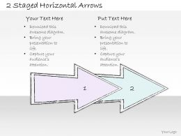 0614 Business Ppt Diagram 2 Staged Horizontal Arrows Powerpoint Template