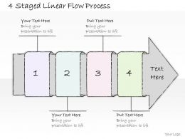 0614 Business Ppt Diagram 4 Staged Linear Flow Process Powerpoint Template