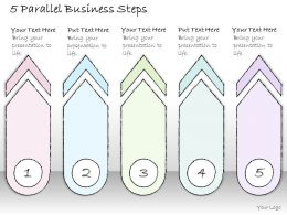 0614 Business Ppt Diagram 5 Parallel Business Steps Powerpoint Template