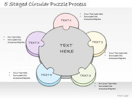 0614 Business Ppt Diagram 5 Staged Circular Puzzle Process Powerpoint Template