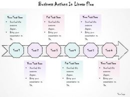 0614 Business Ppt Diagram Business Actions In Linear Flow Powerpoint Template