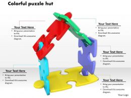 0614 Colorful Puzzles Make Hut Image Graphics For Powerpoint