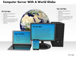 0614 Computer Server With World Globe Image Graphics For Powerpoint