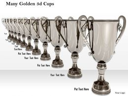 0614 Illustration Of Many Silver Trophies Image Graphics for PowerPoint