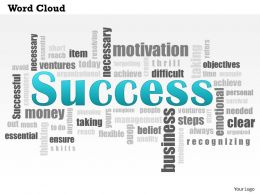 0614 Success Word Cloud PowerPoint Slide Template