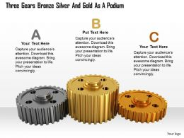 0614 Three Gears As Podium Concept Image Graphics for PowerPoint
