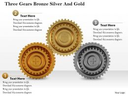 0614 Three Gears Bronze Silver And Gold Image Graphics for PowerPoint