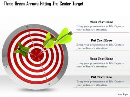0614 Three Green Arrows Hitting Target Image Graphics for PowerPoint