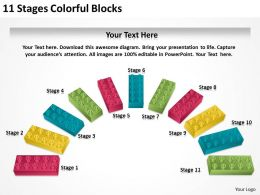0620 Business Strategy Consultant 11 Stages Colorful Blocks Powerpoint Templates PPT Backgrounds For Slides