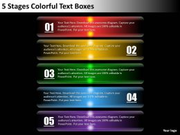 0620 Management Consultant 5 Stages Colorful Text Boxes Powerpoint Templates