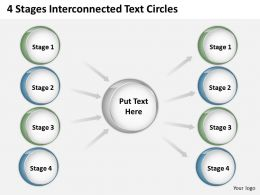 0620 Management Consultant Business 4 Stages Interconnected Text Circles Powerpoint Backgrounds For Slides