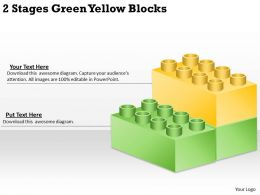 0620 Management Consultants 2 Stages Green Yellow Blocks Powerpoint Templates