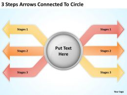 0620 Management Consultants 3 Steps Arrows Connected To Circle Powerpoint Templates