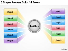 0620 Management Consulting Companies 6 Stages Process Colorful Boxes PPT Backgrounds For Slides