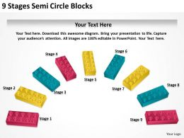 0620 Management Strategy Consulting 9 Stages Semi Circle Blocks Powerpoint Backgrounds For Slides