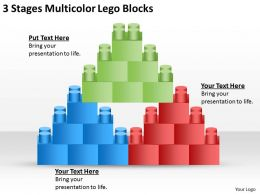 0620 Marketing Plan 3 Stages Multicolor Lego Blocks Powerpoint Slides