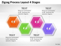 0620 Project Management Consultant Zigzag Process Layout 4 Stages Powerpoint Templates Backgrounds For Slides