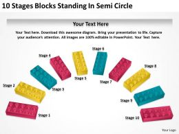 0620 Strategy 10 Stages Blocks Standing Semi Circle Powerpoint Templates