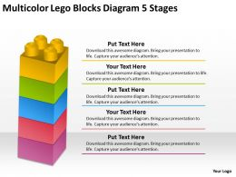 0620 Technology Strategy Consulting Multicolor Lego Blocks Diagram 5 Stages Powerpoint Slides