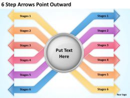 0620 Timeline Chart 6 Step Arrows Point Outward Powerpoint Templates