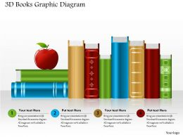 0714 Business Consulting 3D Books Graphic Diagram Powerpoint Slide Template
