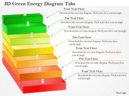 0714 Business Consulting 3D Green Energy Diagram Tabs Powerpoint Slide Template