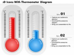 0714 Business Consulting 3D Icons With Thermometer Diagram Powerpoint Slide Template