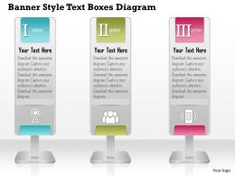 0714 Business Consulting Banner Style Text Boxes Diagram Powerpoint Slide Template