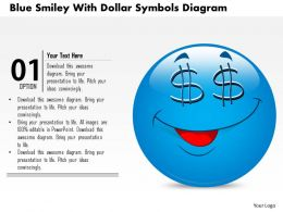0714 Business Consulting Blue Smiley With Dollar Symbols Diagram Powerpoint Slide Template