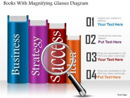 0714 Business Consulting Books With Magnifying Glasses Diagram Powerpoint Slide Template