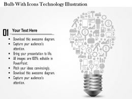0714 Business Consulting Bulb With Icons Technology Illustration Powerpoint Slide Template