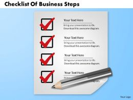 0714 Business Consulting Checklist Of Business Steps Powerpoint Slide Template